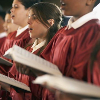 Young Choir Members Singing --- Image by © Royalty-Free/Corbis